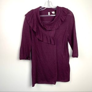 Anthropologie Wine Ruffle wrap sweater size medium